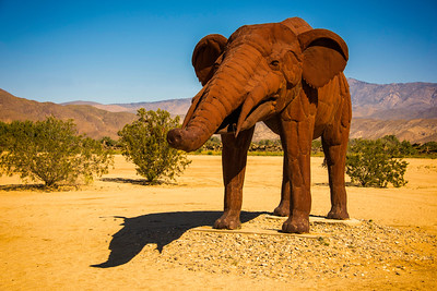 Woolley Mammoth Metal sculpture at Anza-Borrego State Park in California