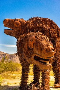 Prehistoric animal metal sculptures at Anza-Borrego State Park in California