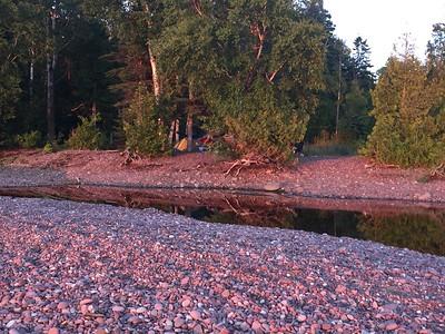 Sunset with Pink Rocks & Reflections by Carla Palosaari