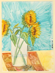 IMG_8007 Sunflower Bouquet,,by helen  Curtis,,watercolor on yupo