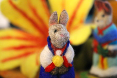 IMG_8029 needle felted rabbits and flower by margaret dwyer