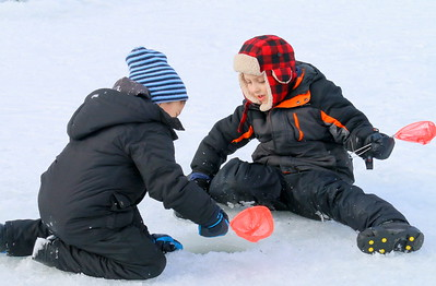 IMG_5475 sam Depierro,6, of white river and owen Hosmer,6, of harltand,,skim ice out of a hole
