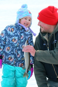 IMG_5402 Makenzie Hall,4, and her dad Carl,,of Quechee, with a 16 inch norhtern pike
