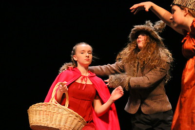 IMG_5782 little red  riding hood (riley earle) is pulled into the woods by the wolf (emily dean)