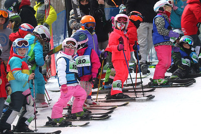 PHOTO BY HERB SWANSON:   Skiers and riders 13 years old and younger wait their turn to take part in  the Mini Shred Madness at Killington Ski Area in Vermont on Saturday January 14, 2017. Mini Shred Madness is all about having fun in a competition setting.