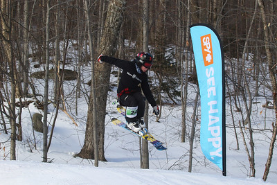 PHOTO BY HERB SWANSON:  Charles Rice warms up before competing in the Mini Shread Madness. at Killington Ski Area in Vermont on Saturday January 14, 2017. Mini Shred Madness is all about having fun in a competition setting.  http://herbswanson.smugmug.com/
