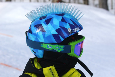 PHOTO BY HERB SWANSON: Carmine Cariati  before competing in the Mini Shread Madness at Killington Ski Area in Vermont on Saturday January 14, 2017. Mini Shred Madness is all about having fun in a competition setting.  http://herbswanson.smugmug.com/