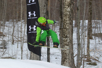 PHOTO BY HERB SWANSON: Jonas Wysocki warms up before competing in the Mini Shread Madness at Killington Ski Area in Vermont on Saturday January 14, 2017. Mini Shred Madness is all about having fun in a competition setting.  http://herbswanson.smugmug.com/