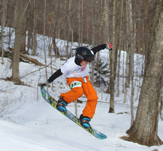 PHOTO BY HERB SWANSON: Ryan Mrachek warms up before competing in the Mini Shread Madness at Killington Ski Area in Vermont on Saturday January 14, 2017. Mini Shred Madness is all about having fun in a competition setting.  http://herbswanson.smugmug.com/