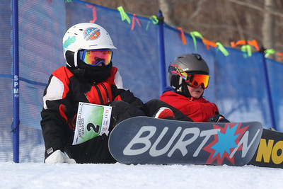 PHOTO BY HERB SWANSON:  Charlie Duffy waits to compete in the Mini Shred Madness. Skiers and riders 13 years old and younger wait their turn to take part in  the Mini Shred Madness at Killington Ski Area in Vermont on Saturday January 14, 2017. Mini Shred Madness is all about having fun in a competition setting.  http://herbswanson.smugmug.com/