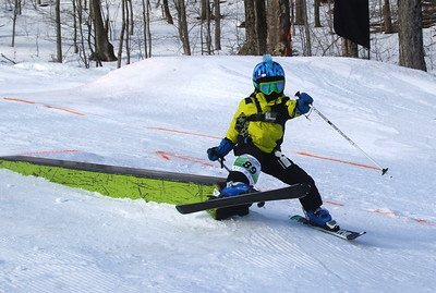 PHOTO BY HERB SWANSON: Carmine Cariati warms up before competing in the Mini Shread Madness at Killington Ski Area in Vermont on Saturday January 14, 2017. Mini Shred Madness is all about having fun in a competition setting.  http://herbswanson.smugmug.com/