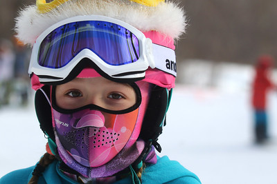 PHOTO BY HERB SWANSON: Ella Strong before competing in the Mini Shread Madness at Killington Ski Area in Vermont on Saturday January 14, 2017. Mini Shred Madness is all about having fun in a competition setting.  http://herbswanson.smugmug.com/