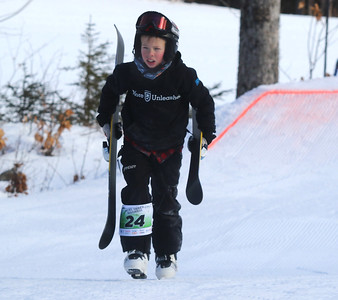PHOTO BY HERB SWANSON:  Charles Rice warms up before competing in the Mini Shread Madness at Killington Ski Area in Vermont on Saturday January 14, 2017. Mini Shred Madness is all about having fun in a competition setting.  http://herbswanson.smugmug.com/