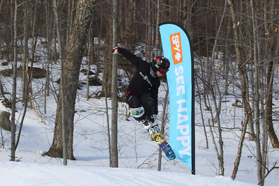 PHOTO BY HERB SWANSON:  Charles Rice warms up before competing in the Mini Shread Madness at Killington Ski Area in Vermont on Saturday January 14, 2017. Mini Shred Madness is all about having fun in a competition setting. at Killington Ski Area in Vermont on Saturday January 14, 2017. Mini Shred Madness is all about having fun in a competition setting.  http://herbswanson.smugmug.com/