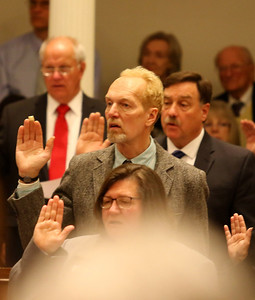 PHOTO BY HERB SWANSON:  Paul Belaski is sworn into office on the first day of the 2017 Legislative session at the State House in Montpelier, Vermont on January 4, 2017