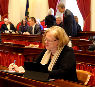 PHOTO BY HERB SWANSON:  Representative Sue Buckholz  on the first day of the 2017 Legislative session at the State House in Montpelier, Vermont on January 4, 2017