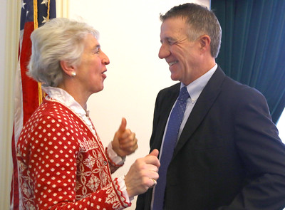 PHOTO BY HERB SWANSON:  Newly elected Senator Alison Clarkson and Governor-elect Phil Scott on the first day of the 2017 Legislative session at the State House in Montpelier, Vermont on January 4, 2017