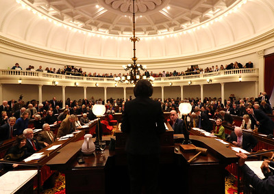 PHOTO BY HERB SWANSON:  The new speaker of the house Mitzi Johnson on the first day of the 2017 Legislative session at the State House in Montpelier, Vermont on January 4, 2017