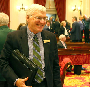 PHOTO BY HERB SWANSON:  John Bartholomew on the first day of the 2017 Legislative session at the State House in Montpelier, Vermont on January 4, 2017