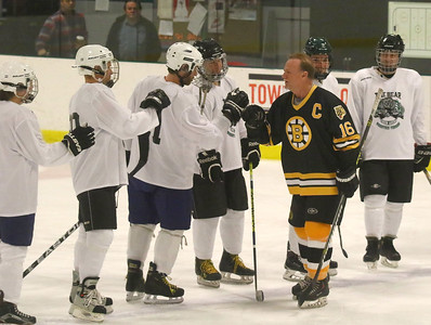 PHOTO BY HERB SWANSON:       Rick Middleton greets members of the Union Arena Bears before the start of their game against the  Boston Bruins Alumni  in Woodstock, Vermont on Saturday, February 25, 2017. http://herbswanson.smugmug.com/