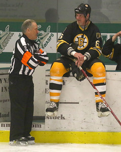 PHOTO BY HERB SWANSON:        Mike Garcia (L) talks with Glen Featherstone before the start  of the Boston Bruins Alumni vs the Union Arena Bears game at Union Arena  in Woodstock, Vermont on Saturday, February 25, 2017. http://herbswanson.smugmug.com/