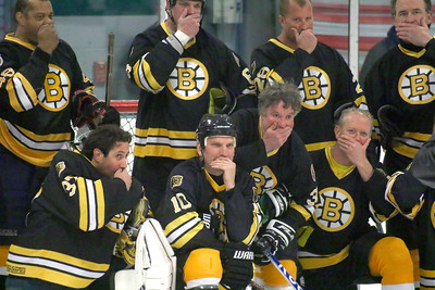 PHOTO BY HERB SWANSON:               The Boston Bruins Alumni pose for a team photo before their game against the Union Arena Bears  in Woodstock, Vermont on Saturday, February 25, 2017. http://herbswanson.smugmug.com/