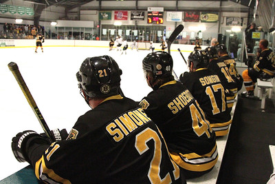 PHOTO BY HERB SWANSON:         Boston Bruins Alumni watch the action during their game against the Union Arena Bears  in Woodstock, Vermont on Saturday, February 25, 2017. http://herbswanson.smugmug.com/