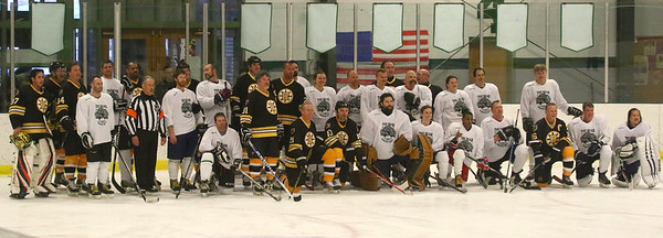 PHOTO BY HERB SWANSON:  The Boston Bruins Alumni and the Union Arena Bears pose for a group photo before their game at Union Arena  in Woodstock, Vermont on Saturday, February 25, 2017. http://herbswanson.smugmug.com/