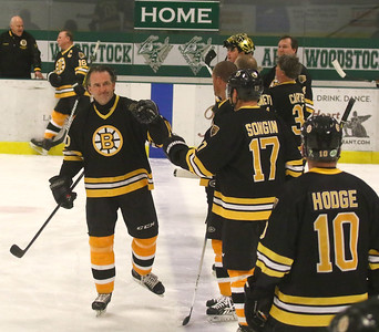 PHOTO BY HERB SWANSON:           Bruce Shoebottom joins teammates on the ice before the start of the Boston Bruins Alumni vs the Union Arena Bears game at Union Arena  in Woodstock, Vermont on Saturday, February 25, 2017. http://herbswanson.smugmug.com/