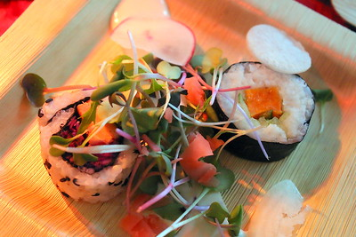 IMG_5591 Woodstock Farmers Market,, maple sweet potato and cucumber Maki roll with maple wasabi creme fraiche