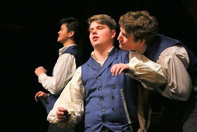 IMG_4401 kyle rasmussen as benedick at center, teased by tyler chynoweth as claudio