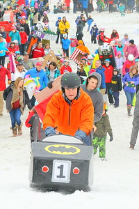 IMG_0588 chris Bunnell pushes the Batman sled towards the start