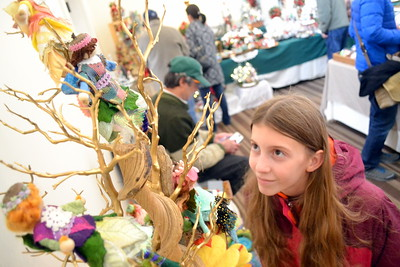 DSC_0520 Delia Morgan of woodstock looks at felted fairies crafted  by margaret Dwyer of Wilmot nh