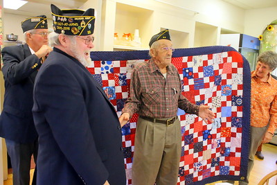 IMG_7500 Ora Paul Am Legion Post Commander rodney croft,,Fred Stebbins of Morrisville Post #33 who presented the quilt,,Floyd,,Floyds daughter Mary VanAlstyne-Croft, who made the quilt