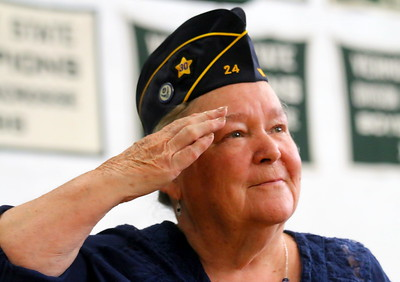 IMG_7374 catherine Harriman stands and salutes as Air Force is called during roll call  for different branches,