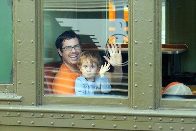 IMG_4632 John and Orrin,2, Fitzgerald, of morrisville, vt, set to ride on Green Mountain Railroad excursion trip