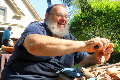 IMG_7457 dustin coates of Etna, nh,  carving a spoon out of lilac wood