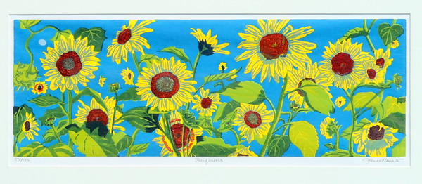 IMG_5026 ,,,Sunflowers,,,by jeanne amato,,wood block print