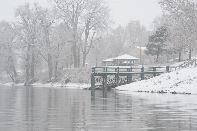 Wabash River during heavy snowfall