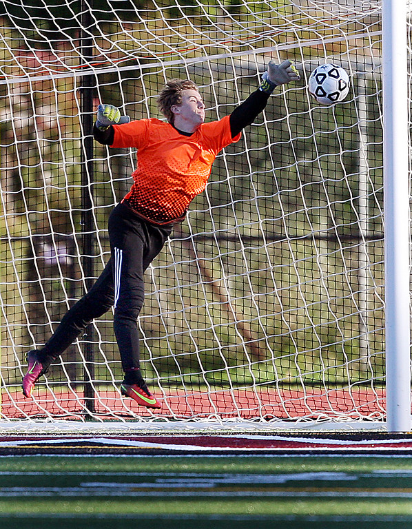 . Scotts Valley High goal keeper Brody Affolter makes a leaping save during Wednesday\'s 1-0 loss to Soledad High.  (Dan Coyro -- Santa Cruz Sentinel)