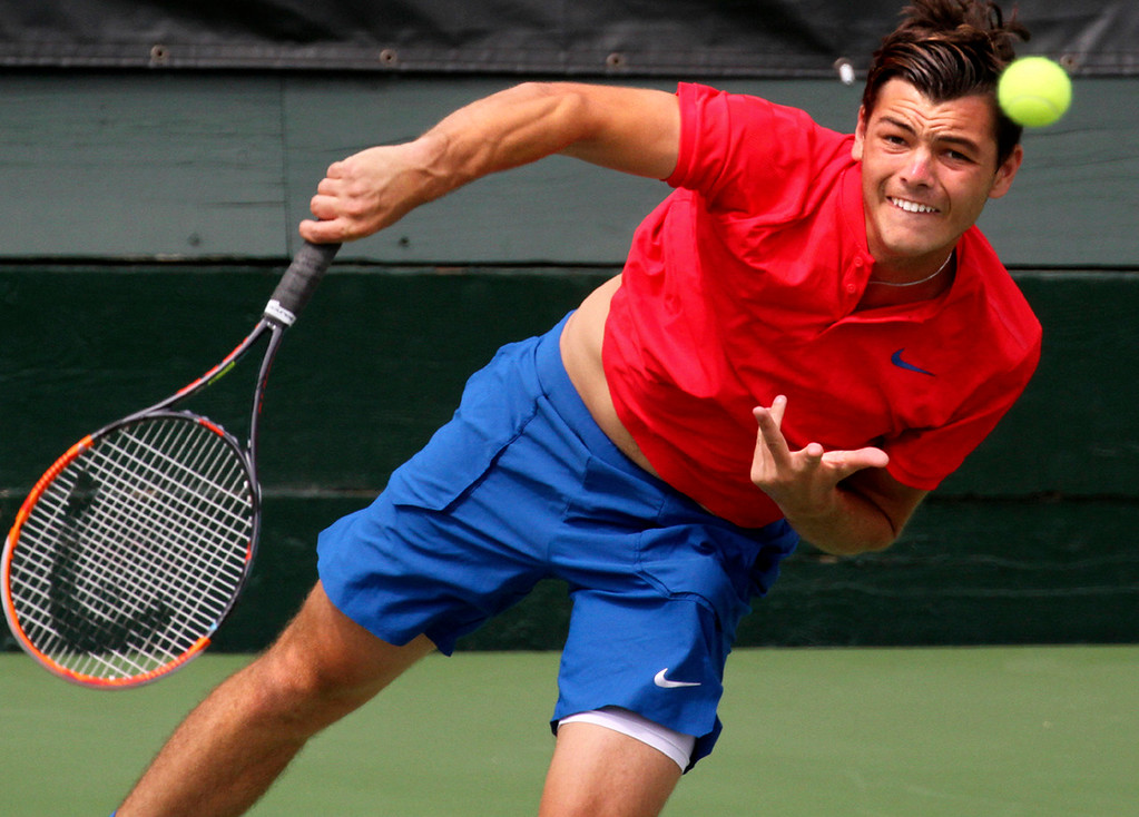 . American Taylor Fritz serves on center court during his 6-3, 6-4 victory over Russian Konstantin Kravchuk at Seascape Sports Club during Tuesday action at the Nordic Naturals Cal Open Tennis Championships. (Shmuel Thaler -- Santa Cruz Sentinel)