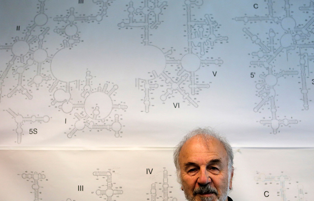 . Harry Noller, the Sinsheimer Professor of Molecular Biology, the 2016 winner of a $3 million Breakthrough Prize in Life Sciences for revealing how the complex molecular machines called ribosomes translate genetic code, is photographed in front of an RNA chart in his office at UC Santa Cruz, in Santa Cruz, California on April 19, 2017.