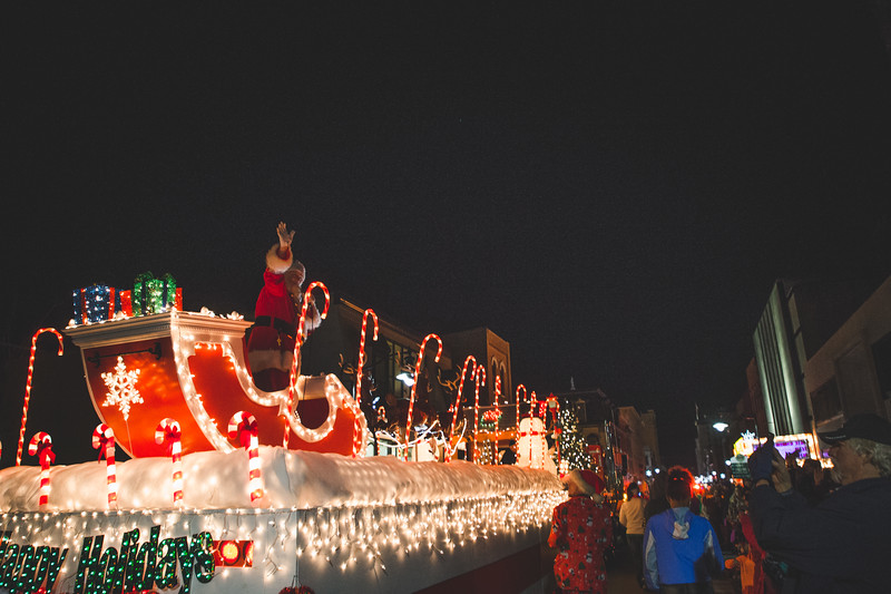 Santa Claus arrives at the Lafayette Christmas Parade