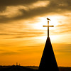 The sun sets over the St. Mary Star of the Sea Catholic Church in Ocean City, Maryland