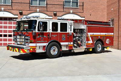 "Carlisle, PA Union Fire Company No. 1  - Engine 141 is a 2016 Pierce Enforcer equipped with a 1500/789/30A.  This is one of two 2016 Pierce Enforcer's, and although they are very similar looking, they are not twins.  The easiest way to recognize the two is the wording on the front - Engine 141 is the ""Down Town"" engine, handling first out calls within Carlisle.  Engine 141 has Pierce job number 29391."