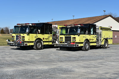 Capon Bridge Engine 9-1 (right) - a 2000 Pierce Lance and 9-2, a 2003 Pierce Lance.  Photographed in March, 2017.  Both engines were purchased from Dale City, Virginia in Prince William County.