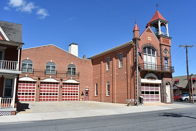 Carlisle's Union Fire Company No. 1 in Cumberland County.  The older section of the station on the right with the single bay houses the department's museum, including a 1929 ALF Metropolitan and a 1935 Hahn.  The three bay section was built in 1977.