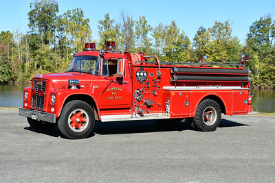 Newbern, Virginia in Pulaski County.  A 1965 International Loadstar 1700/Oren with a 750/500 and s/n 2112.  Now privately owned.  Photographed in September of 2017 at the ODHFS Farmville muster.