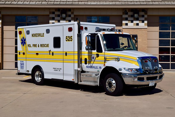 Ambulance 525 is one of two units, a 2015 International 4300/Horton.