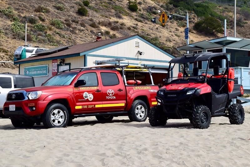 Los Angeles County Lifeguards 331 and 8270.  Malibu Beach.